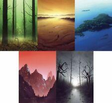 Poster Set - Unhinged 5 Basic Lands, 33x24 inches, Magic Mtg John Avon, Used Hq