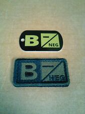 Tactical Blood Type Embroidered Velcor Patch & DOG TAG: B Negative  (B-)