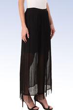 DKNYC Women's Fringe Maxi Skirt - BLACK - Size 0