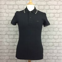ARMANI JEANS MENS UK M BLACK SHORT SLEEVE SLIM FIT POLO SHIRT DESIGNER SMART