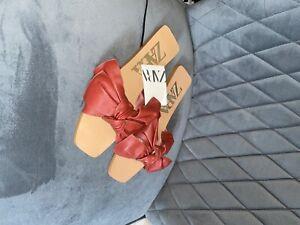 Zara leather sliders size 4 brand new