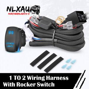 Universal LED Light Bar Fog Light Wiring Harness Kit Rocker Switch Relay Fuse12V