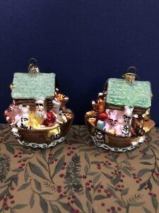 Gisela Graham 2 Hand Painted Glass Noah's Ark Christmas Tree Decoration,