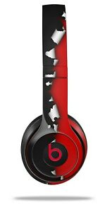 Skin Beats Solo 2 3 Ripped Colors Black Red Wireless Headphones NOT INCLUDED