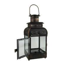 Antique Bronze Metal Candle Lantern, 16-Inch