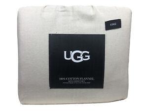 "UGG 100% Cotton Flannel 4 Piece Sheet Set Ivory Herringbone King $120 15"" Deep"