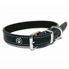Rosewood Luxury Leather Dog Collar 10 - 14-inch Black