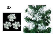 3 addobbi FIOCCO DI NEVE NATALE albero decorazione feste palline striscioni casa