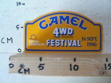 STICKER,DECAL CAMEL 4 WD AUTO-MAGAZINE FESTIVAL ZANDVOORT 14-9-1986 FOUR WHEEL D