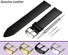Fits ROTARY Watch Black Genuine Leather Watch Strap Band for Buckle Clasp + Pins