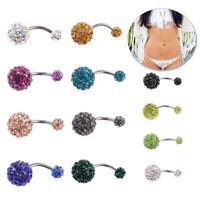 Rhinestone Navel Ring Bar Barbell Body Piercing Surgical Belly Button Jewelry