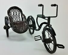 Antique Doll Bicycle 3-Wheel With Wicker Sidecar