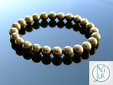 """PIRITE naturale Naturale Gemstone Bracciale con Perline 7-8"""" elasticizzata guarigione chakra"""