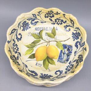 x4 Shabby Chic Lemon MELAMINE Cereal Bowl Set Blue Floral Postage Stamp France