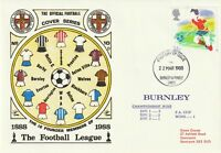22 MARCH 1988 BURNLEY FOOTBALL LEAGUE OFFICIAL FOOTBALL FIRST DAY COVER