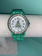 Christmas Tree Rhinestone Watch Green Silicone Band New Battery