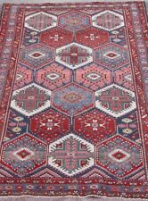 """Outstanding Tribal Antique 1910's Hand-Knotted Wool Oriental Rug 4'6"""" x 6'"""