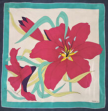 Designer GRES Paris FLORAL Leaves FUCHSIA Pink Turquoise Hand Rolled Silk Scarf