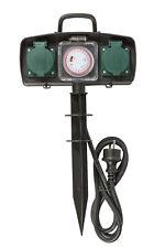 2 fach Gartensteckdose mit Zeitschaltuhr Außensteckdose Strom Verteiler IP44