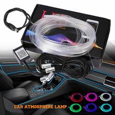 4in1 RGB LED Fiber Optic Car Interior Neon EL Strip Light Lamp Bluetooth APP Set