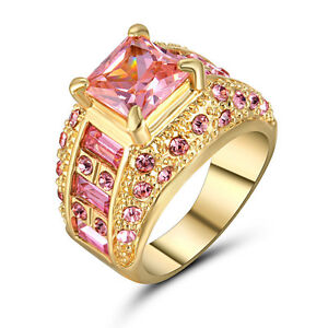 2016 Fashion Pink Sapphire Yellow Gold Filled Wedding Bridal Ring Gift Size 7