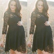 Pregnant Fashion Womens Maternity Long Sleeve Casual Dress Lace Summer Clothes
