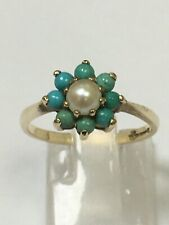 Stunning 9 Carat Yellow Gold PEARL & TURQUOISE CLUSTER Ring