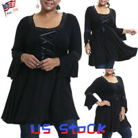 Women's Vintage Tops Blouse Goth Dress Shirt Tunic Pleated Flounce Plus Size US
