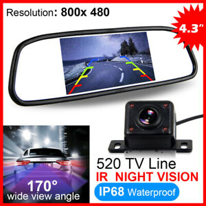 "HD IR Night Vision Reversing Camera Car Rear View Kit + 4.3"" LCD Mirror Monitor"