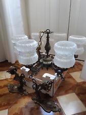 Lampadario antico a sospensione  in metallo-ottone lavorato a 6 luci