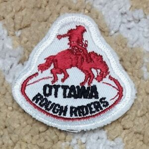 """Vtg Ottawa Rough Riders CFL football 2"""" die-cut embroidered patch"""