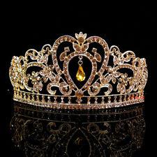 6.5cm High Heart Flower Leaf Full Crystal All Golden Tiara Crown Wedding Prom