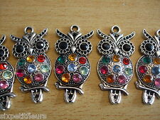 Large OWL sparkly stunning crystal pendants x4 50mm rhinestone mixed B39 UK
