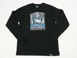 Champion Men Authentic Long Sleeve Shirt Philadelphia Eagles Superbowl M Black