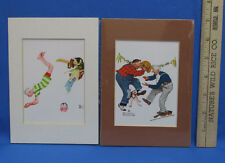 """Set 2 Norman Rockwell Prints Matted 7""""x5"""" Playful Old Men Dancing Swimming"""