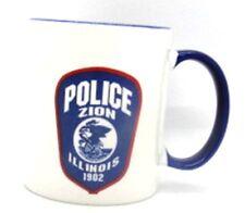 POLICE Zion Illinois Blue & White Coffee Cup Mug Linyi Silver Phoenix Design