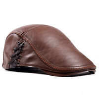Men/'s Real Leather Cowhide Military Newsboy Octagonal Peaked Cap Army Caps//Hats