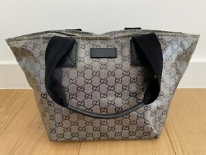 Authentic GUCCI Coated Crystal Monogram Canvas Web Handle Bucket Tote Bag