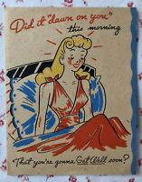 Vintage 1940s Get Well Greeting Card Pretty Lady in Victory Rolls Brief Lingerie
