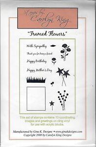 Gina K Designs Framed Flowers 13 Cling Vinyl Stamps Unmounted Stamp Set NEW