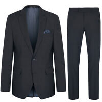 schwarz Herren Anzug modern Paul Malone Business Anzug 2tlg