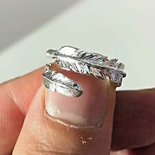 Feather 925 Sterling Silver Adjustable Ring Size L-S Solid Silver Hallmarked 925