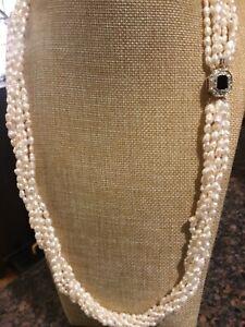 Vintage Rice Pearl Necklace Rhinestone Clasp 6 Strand
