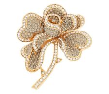 New Rare Signed Joan Rivers Hearts & Flowers Pave Goldtone Brooch Pin