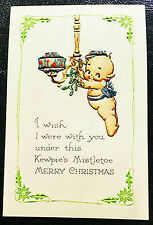 Kewpie Christmas Postcard Hanging Misletoe Mint Nos Shackman We Ship Worldwide!