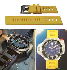 YELLOW Silicone Rubber Waterproof Watch Strap. 1970's Vintage Style Dive Band.