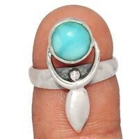 Goddess - Genuine Larimar 925 Sterling Silver Ring Jewelry s.6 AR180276