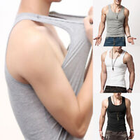 Men Tank Vest Top Undershirt Sleeveless Gym Fitness Summer Quick Dry Solid Shirt