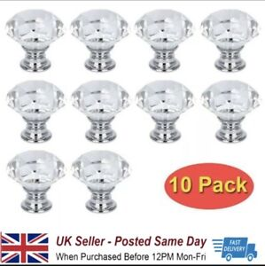 10Pcs Crystal Glass Door Knobs Diamond Drawer Knobs Cabinet Draw Pull Handle