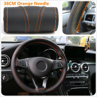 38CM Steering Wheel Covers Anti-slip Protector Cover Needle Orange Line Sewing